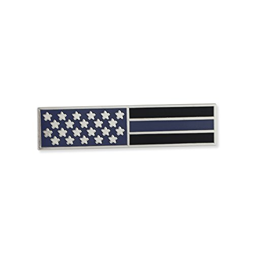 Forge Police Thin Blue Line American Flag Stars + Blue & Black Stripes Uniform Bar Pin (1 Pin)