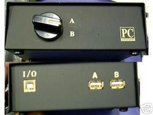 NEW 2- WAY KEYBOARD MOUSE USB PORT A B SWITCH BOX HUB mac pc hub black w/ gold ()