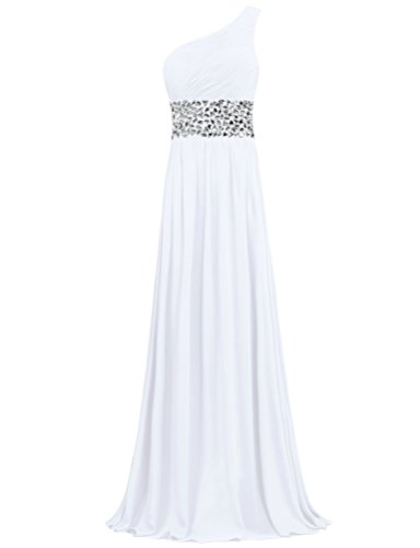 Crystal Evening ANTS Chiffon White One Prom Shoulder Gowns Long Dresses 4qH10UH