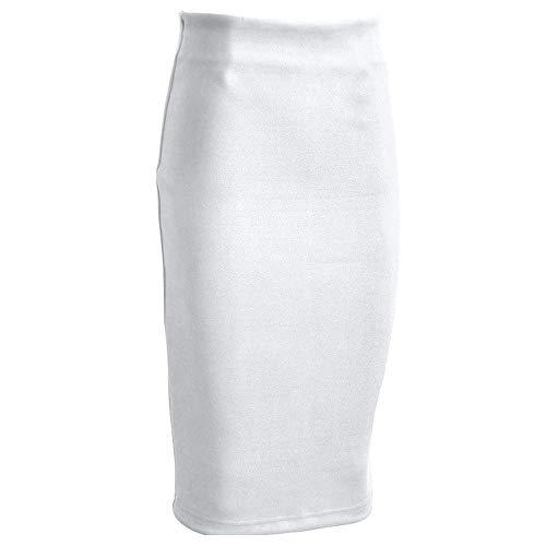 NDJqer Women Suede Pencil Skirt Spring Autumn Basic High Waist Bodycon Split Knee Length Skirts,White,M