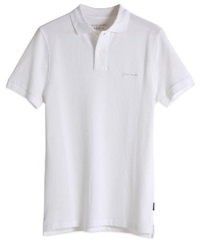 Neushop Men's Farrell 100% Cotton Short Sleeve Polo T-Shirt, White, XL