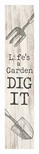 a Garden Dig It Spade Whitewash 1.5 x 7.5 Inch Wood Vertical Tabletop Block Sign (Dads Garden Sign)