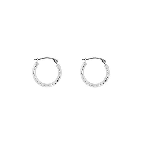 40c818a5897514 Galleon - 14k White Gold Baby Hoops Hoop Earrings Tubular 2x12mm Diamond-Cut