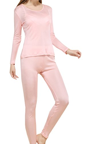 Fashion Silk Women's Thermal Underwear Sets Knit Silk Long johns for women Base Layering Sets (Small, Pink)
