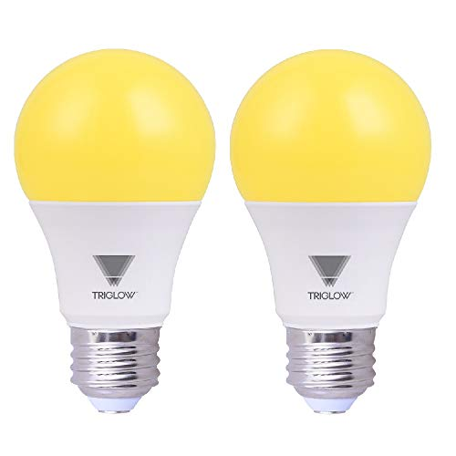 TriGlow Yellow LED A19 Light Bulb, 9W (60W Equivalent) Yellow Bug Light Bulb, 2-Pack Bug Light Bulbs Outdoor