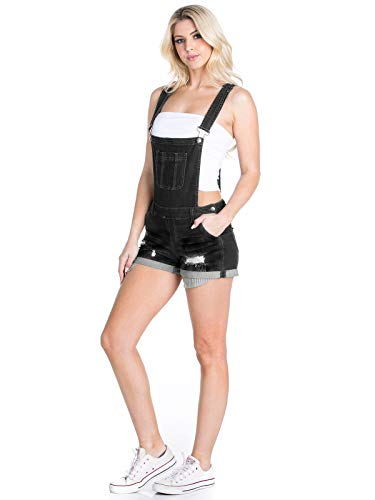 Instar Mode Women's Juniors Cute Denim Overall Shorts Black L