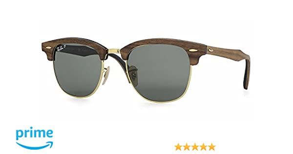 07a29f7a2532cd Amazon.com: Ray-Ban RB3016M Clubmaster Wood Unisex Sunglasses (Brown ...