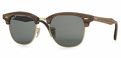 Ray-Ban RB3016M Clubmaster Wood Unisex Sunglasses (Brown Wood Frame/Green Polarized Lens 118158, - Ban Ray Glasses Wood