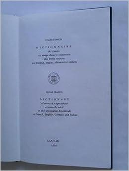 Dictionnaire De Termes En Usage Dans Le Commerce Des Livres