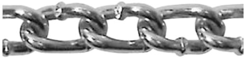 ASC MC150403 Low Carbon Steel Twist Link Machine Chain, Zinc Plated, #4 Trade, 7/64'' Diameter x 50' Length, 205 lbs Working Load Limit