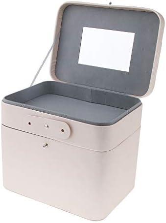 化粧品ハンドバッグ化粧ケースミラー2層オーガナイザーボックス26x23.4x17.8cm