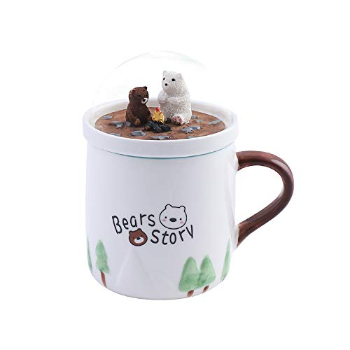 (Evibooin Cute Porcelain Coffee Mug Tea Mug, Cup with Bears Story View Lid)
