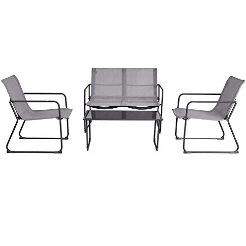 DUSTNIE Outdoor Patio Garden Furniture Set - 4 Pieces, Table, 2 Chairs & 1 Loveseat Couch Sofa - Modern All Weather Design - Outside Front Porch Poolside Deck Backyard Conversation ()