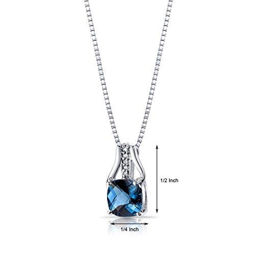 Revoni Bague en or blanc 14carats avec Topaze Bleu Londres Diamant Pendentif coupe Coussin Damier 2,5Cts Total