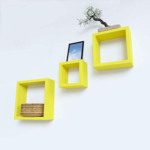 BM WOOD FURNITURE Wooden Wall Shelves | Wall Shelf for Living and Bedroom Decor | Nesting Square Shape | Set of 3 | Yellow