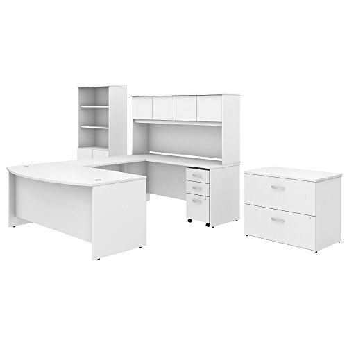 Studio C 72W x 36D U Shaped Desk with Hutch, Bookcase and File Cabinets in White ()