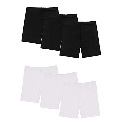 alia-Asia Trad 6 Pack Dance Shorts Girls Bike Short Breathable and Safety 2 Color( Black and White) (6T/7T) by alia-Asia Trad