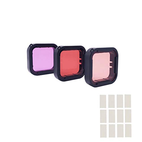3 in 1 Snorkel Diving Underwater Red/Pink/Purple Lens Filters & Anti-Fog Inserts Compatible with Super Suit Waterproof Housing of GoPro Hero (2018), GoPro Hero 7, Hero 6, Hero 6 Black, Hero 5, Hero 5