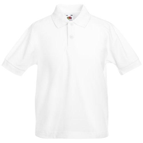 Fruit Of The Loom - Kinder Unisex Pique Kurzarm Polo Shirt - 3-4 Jahre, Weiß