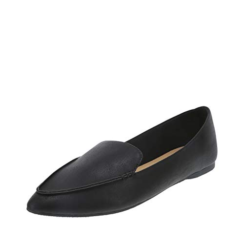 Brash Black Smooth Women's Fern Pointed-Toe Flat 9.5 Wide