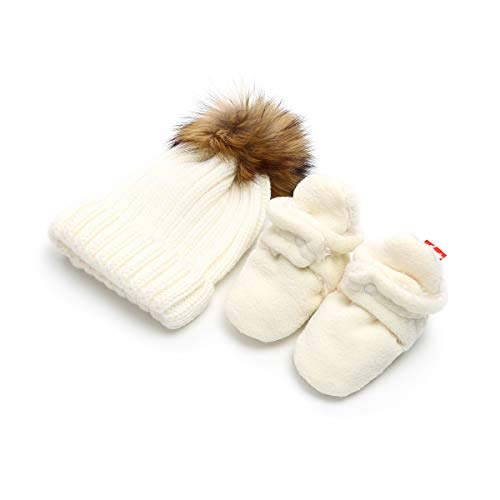 - Isbasic Unisex Baby Cozy Fleece Lined Booties Non-Slip Infant Winter Warm Socks Shoes + Knit Pom Pom Hat (6-12 Months White)