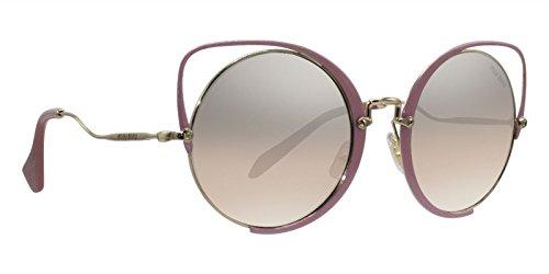 Miu Miu Women's 0MU 51TS Pale Gold/Antique Pink Glitter/Brown Gradient Mirror Silver One ()