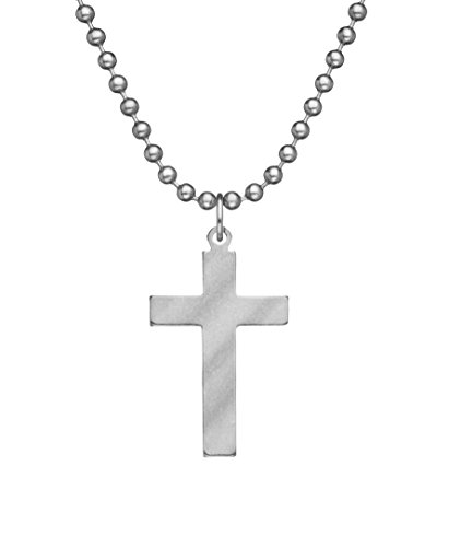 GI Jewelry - Genuine U.S. Military Issue Cross with Beaded Chain - -