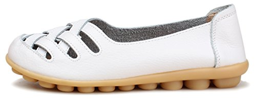 Kunsto Women's Leather Loafer Shoes Slip On White-hollow Out