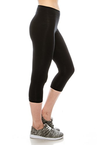 (Cotton Spandex Basic Knit Jersey Capri black womens leggings Black M)