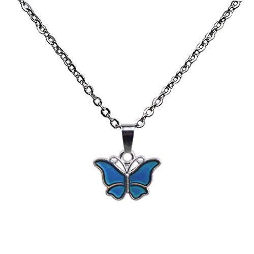 Prettyia Mini Butterfly Pendant Color Change Emotion Mood Stainless Steel Necklace