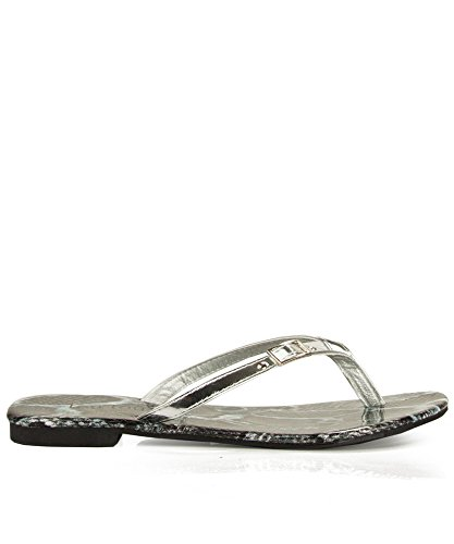 Thong Of SILVER Fashion Women's PATENT 10 Room Sandal T Strap qXOdnAw1