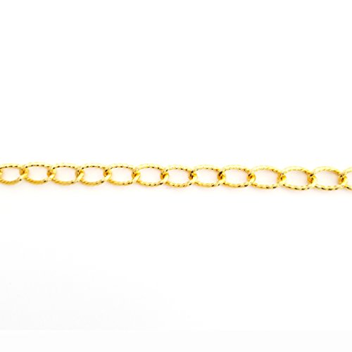 BeadsOne - 10ft - Aluminum Textured Hammered Curb Gold Chain 17x10mm Non Tarnish Jewelry Making Crafts Supplies Chain by The Foot Tarnish (Textured Curb Link)