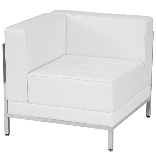 Flash Furniture HERCULES Imagination Series Contemporary Melrose White Leather Left Corner Chair with Encasing Frame by Flash Furniture