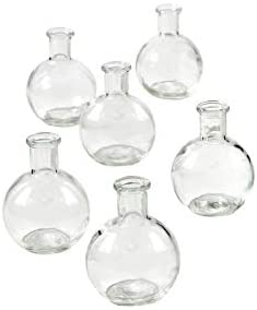 Events Parties Transparent Glass Vases for Weddings Serene Spaces Living Set of 6 Clear Ball Bud Vases Floral Centerpieces for Home Decor Measures 4 Tall