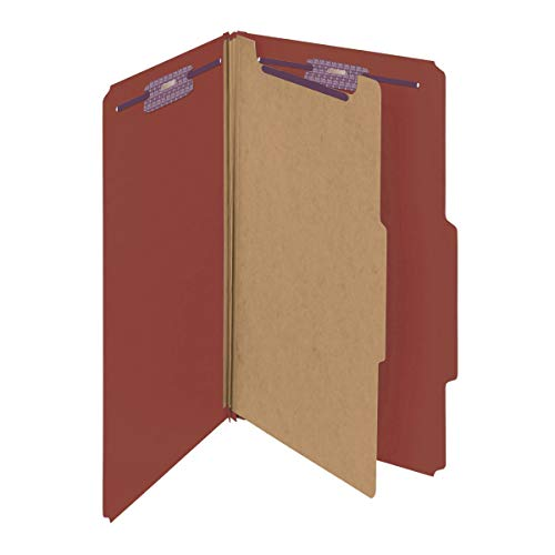 "Smead Pressboard Classification File Folder with SafeSHIELD Fasteners, 1 Divider, 2"" Expansion, Legal Size, Red, 10 per Box (18775)"