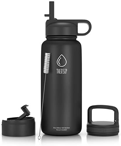 Stainless Steel Water Bottle with Straw, Flip and Carabiner Lids, 32 oz or 1 Liter BPA Free Vacuum Insulated Metal Thermos Tumbler for Sports, Travel, Gym or Home