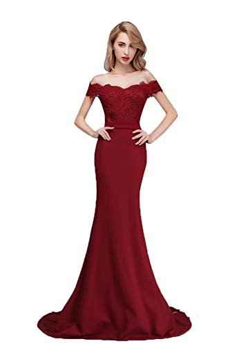 Honey Qiao Burgundy Off The Shoulder Mermaid Bridesmaid Dresses Long Prom Party Gowns