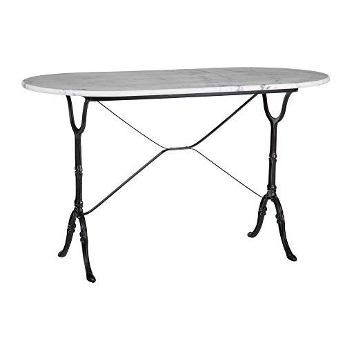 Mesa de Comedor Oval de marmol y Metal Vintage Blanca y Negra, de 120x60x71 cm - LOLAhome