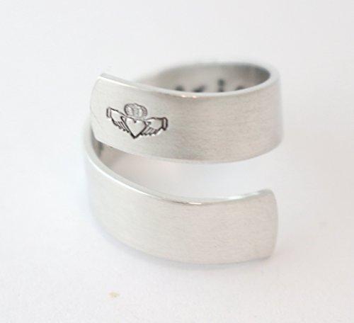 Claddagh Wrap Ring - Twist Ring - Irish Saying - Love Loyalty Friendship