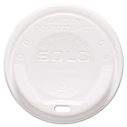 Solo Cup Gourmet Dome Sip-Through Lid, 12-24oz Cups, White - SCCLGXW2 -