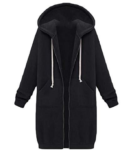 Howme-Women Sweatshirt Hoodie Casual Mid Long Plus Velvet Coat Jacket Black