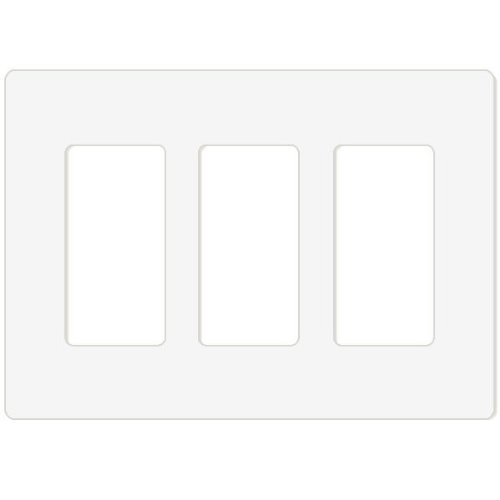 Leviton 80311-ST 3-Gang Decora Plus Screwless Snap-On Wallplate, Light Almond Faceplate 3 Piece