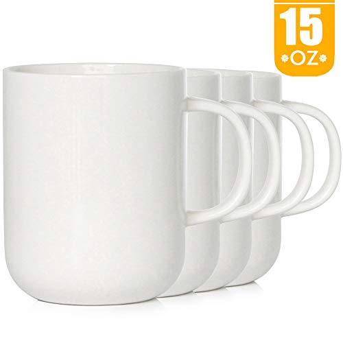 (Smilatte 15 Ounce Porcelain Coffee Mugs, M008 Novelty Blank Ceramic Cup for Tea, Cocoa, Set of 4,)