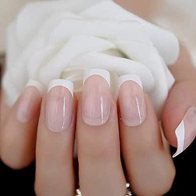 EchiQ - Uñas postizas de color beige, forma cuadrada, color ...