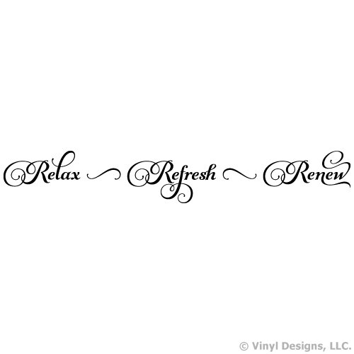 Relax Refresh Renew Quote Vinyl Wall Decal Sticker Art, Removable Words Home Decor, Mural, Black (Art Sticky Wall Word)