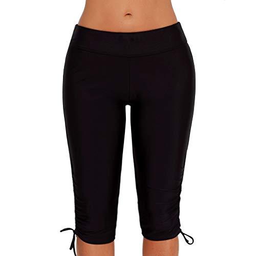 NOMUSING Womens Board Swimsuit Bottom High Waisted Tankini Long Skinny Capris Shorts Sport Sunscreen Skinny Swim Trunks Black