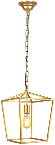 Paragon Home Pendant Light Hanging Lantern Lighting Fixture for Kitchen and Dining Room, Industrial Retro Iron Chandelier Fixture,E26 Base, Gold Bulbs Not Included
