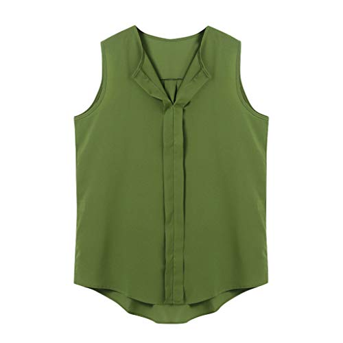 Sunhusing Ladies Summer Trendy Simple Solid Color V-Neck Sleeveless Shirt Casual Wild T-Shirt Green