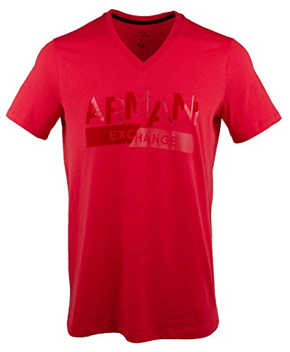 GIORGIO ARMANI Exchange Men's Slim Short Sleeve V-Neck T-Shirt-R-L Red