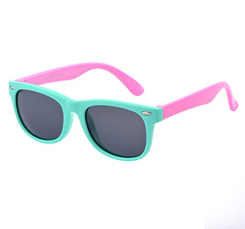 YANQIUYU TPEE Rubber Flexible Kids Toddler Polarized Wayfarer Sunglasses Age 3 -10,UV Protection (Mint Green Frame/Pink Temple, - Mint Wayfarer Sunglasses
